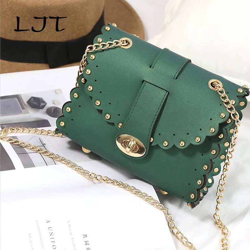 LJT 2017 Female Rivets Chain Small Shoulder Bag Mini Women Messenger Bags Ladies Clutches Crossbody Bags Tote bolsas femininas 2015 women cute bow candy color handbags ladies messenger shoulder crossbody bags mini small quilted chain bags bolsas ba048