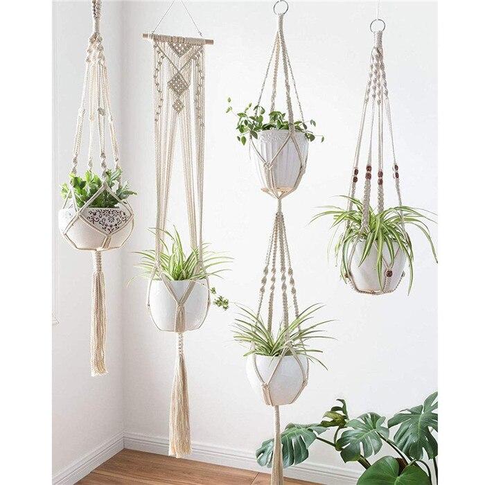 6 pc à la main macramé plante cintre horticole vert fleurs Pot suspendus panier Net pour mur balcon cour jardin décor