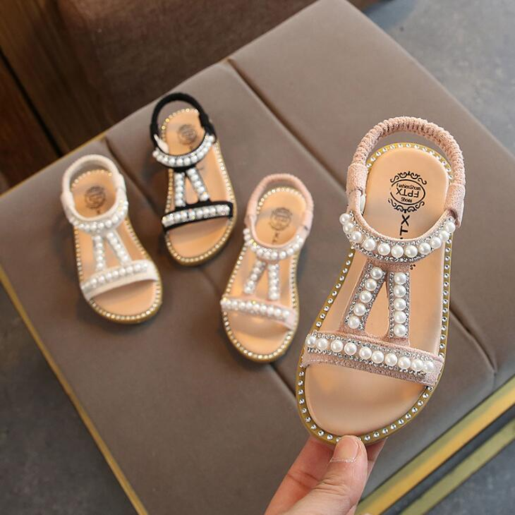 2019 New Children Summer Baby Toddler Little Girls Sandals Pink Gold Silver Princess Shoes For Kids Girls Rhinestone Sandals
