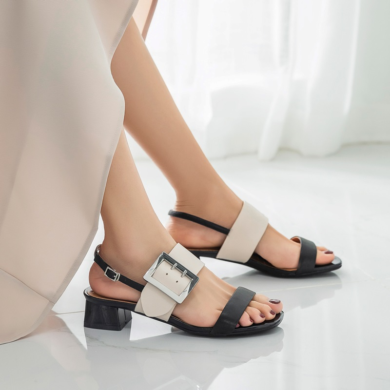 EGONERY أحذية امرأة 2019 الصيف جديد موجزة عارضة عالية الجودة الغنم صناديل للنساء خارج منتصف ساحة الكعوب السيدات أحذية-في الكعب المتوسط من أحذية على  مجموعة 2