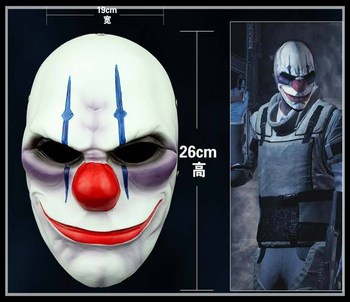 New Payday 2 Heist Joker Chains Resin Mask Chainsaw Clown Scary Airsoft Masks Cosplay Halloween Horro Big discount Free Shipping фото