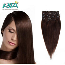 2016 Hot Sale DHL Free Shipping 2 Brown Clip In Remy Human Hair Extensions Full Head