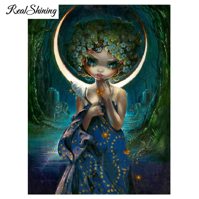 US $5 95 38% OFF|REALSHINING Mysterious Girl 5D Diy Diamond Embroidery,Full  Square Mosaic Diamond Painting Cross Stith Wall Stickers FS2066-in Diamond