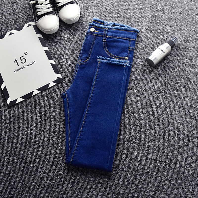 2019 Spring Skinny Pencil Jeans For Women Summer New High Waist Pencil Strech Denim Ankle Length Pants Tassel Jeans Free Ship in Jeans from Women 39 s Clothing