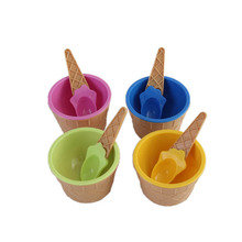 Spoon for ice cream bowl with a spoon wonderful gift Children love Dessert ice cream bowls ice cream cup 6 colors цена