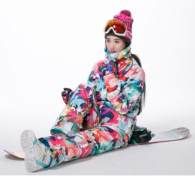 GSOU neige marque Ski costumes femmes veste de Ski + pantalon de ski ensembles de Camouflage hiver extérieur imperméable coupe vent garder au chaud veste de neige - 2