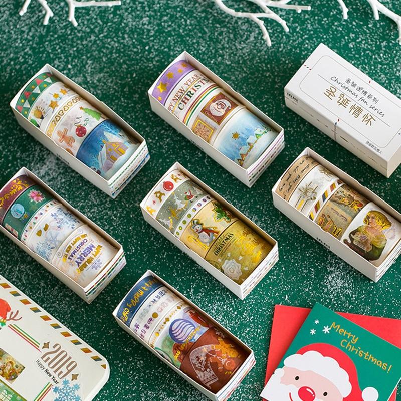 5 Pcs/Box Golden Christmas Night Decoration Washi Tape DIY Scrapbooking Planner Masking Tape Adhesive Tape Kawaii Stationery