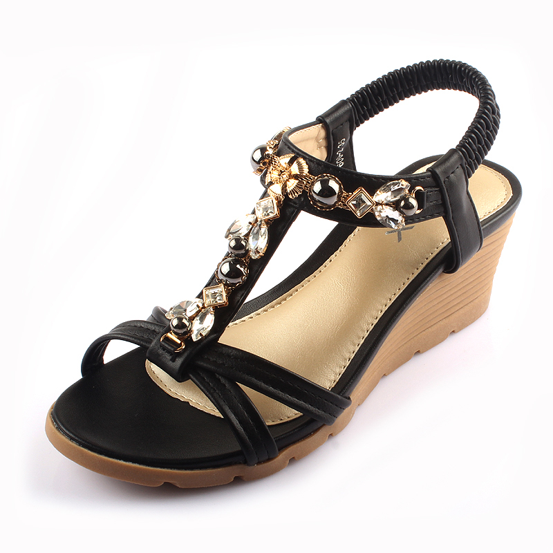 576d6ab7410a 2018 new Bohemia Women Sandals Summer Wedge Sandals Rhinestone Open Toe  Platform Women Shoes Comfortable ladies mid heels -in Middle Heels from  Shoes on ...