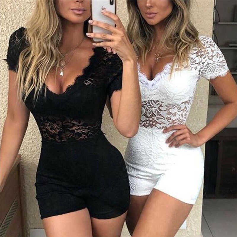 Sexy Frauen Floral Spitze Overall Overall Sommer Sexy V-ausschnitt Kurzarm Dünne Playsuits Strampler Dame Chic Party Bodycon Trikot