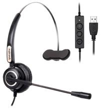 VoiceJoy Call center headset with microphone USB plug headphone for computer and PC Volume control and Mute Switch