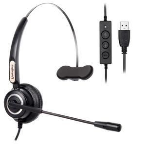 Image 1 - VoiceJoy אוזניות עם מיקרופון USB תקע אוזניות עבור מחשב ומחשב שליטה על עוצמת קול ומתג השתקה