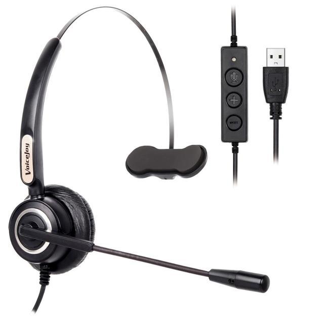 Voicejoy 콜 센터 헤드셋 (마이크 포함) 컴퓨터 및 pc 볼륨 제어 및 음소거 스위치 용 usb 플러그 헤드폰