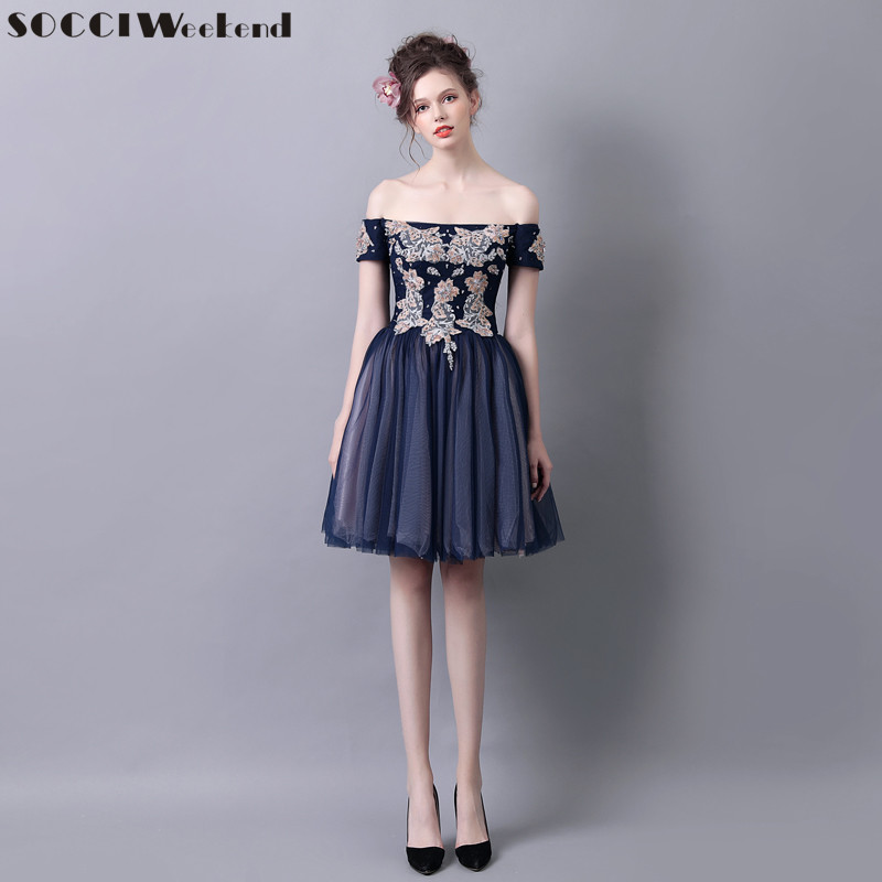 SOCCI Weekend Elegant Women Cocktail Dress 2017 Navy Blue Off Shoulder  Formal Wedding Party Dresses Prom Gown Homecoming Robe De In Cocktail  Dresses From ...