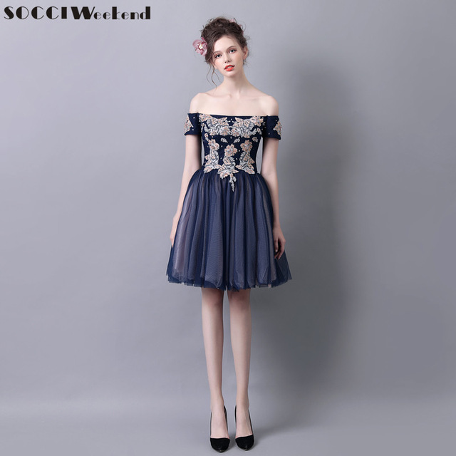 f540b0256251 SOCCI Weekend Elegant Women Cocktail Dress 2017 Navy Blue Off Shoulder  Formal Wedding Party Dresses Prom Gown Homecoming Robe de
