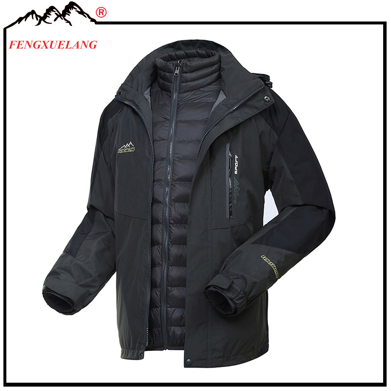 best value nice cheap largest selection of US $106.15 10% OFF|Winter 2 Pieces Black Hiking Ski Suit Waterproof Warm  Rain Jackets Man Lining Down Cotton Fishing Hunting Clothes 3 in 1-in  Hiking ...