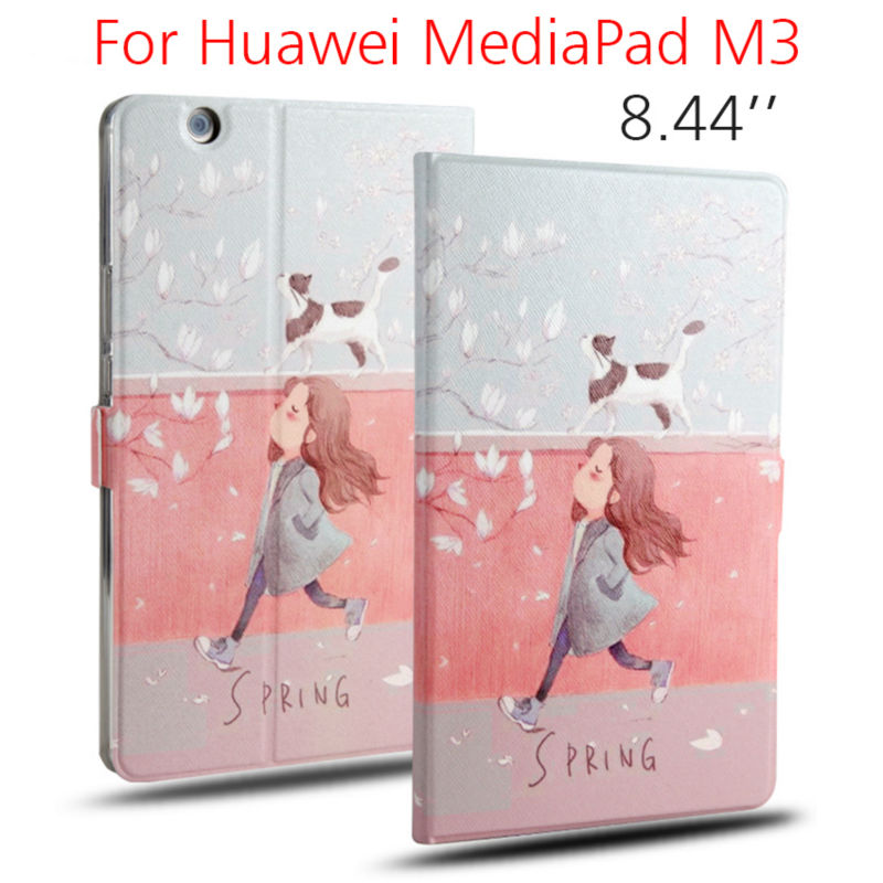 MediaPad M3 Tablet Case Funda 8.4 inch Flip PU Leather Stand Cover Flower Print Case For Huawei MediaPad M3 Soft Protective Skin