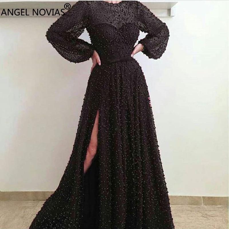 ANGEL NOVIAS Long Sleeves Black Pearls Abendkleider Arabic   Evening     Dress   2018 Vestido Sirena Largo sukienka dluga Custom Made