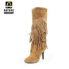 Новое поступление, женская обувь, модные сапоги до колена на высоком каблуке с бахромой, однотонные длинные сапоги из флока без застежек на весну и осеньknee high bootsknee high fashion bootshigh boots  АлиЭкспресс