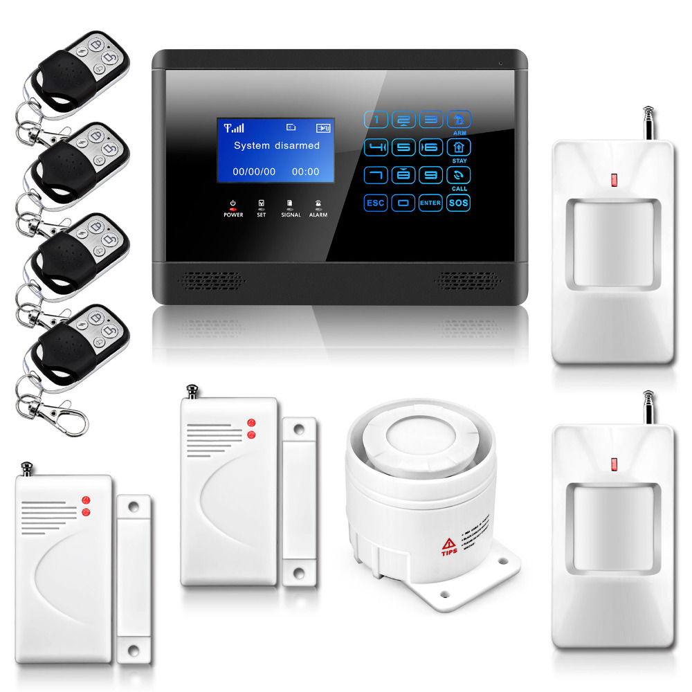 Wireless& Wired GSM SMS Home House Security Inturder Alarm System Siren Door/Window Sensor PIR Remote Controller