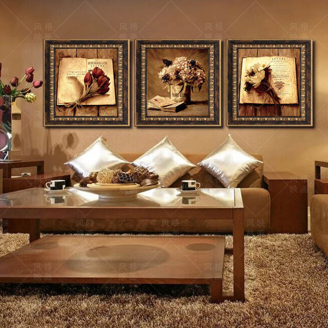 Modern Living Room Restaurant Decorative Painting Paintings Framed  European Style Retro Floral Wall Painting Triptych Part 40