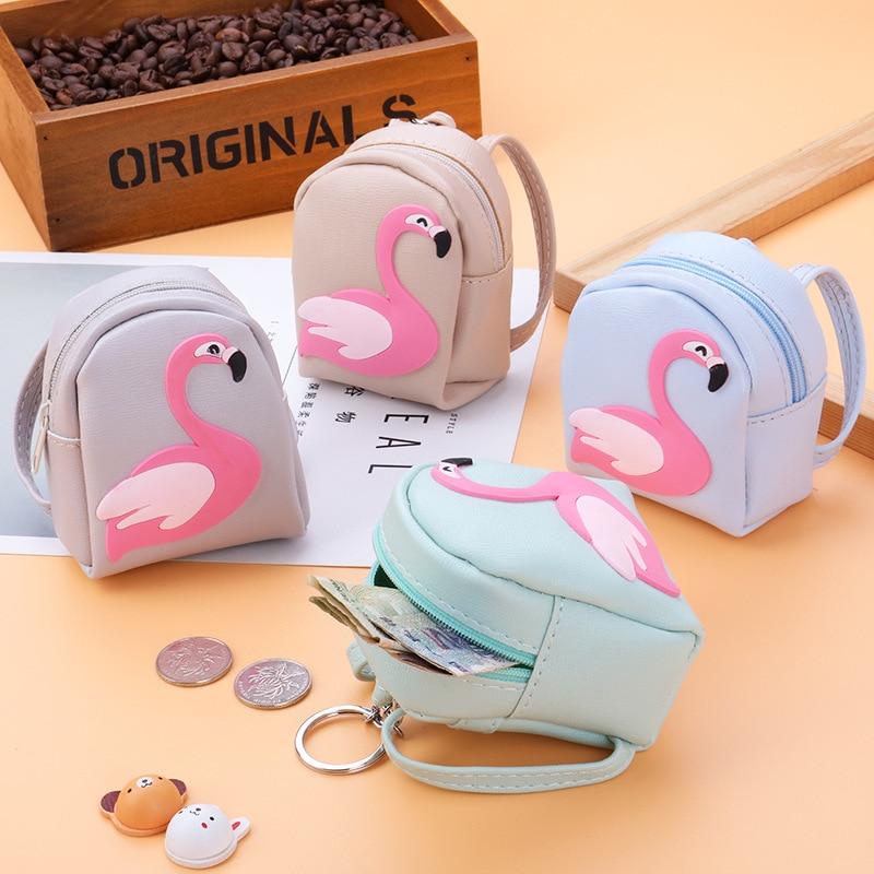 Casual Flamingo Mini Backpack Coin Bag Women Small Wallet Fashion Pu Keychain Purses Student Kid Cute Headphone Money Hand Pouch