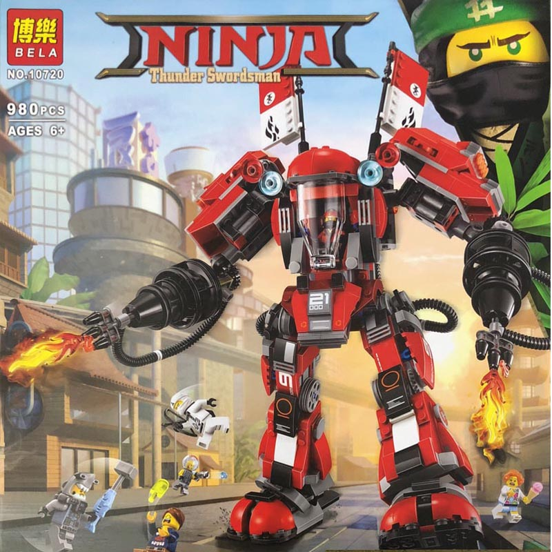 Pogo Bela 10720 980PCS+ Ninjagoe The Fire Mech Building Blocks Bricks Compatible with Legoe Toys Compatible with Lepins lepin 75821 pogo bela 10505 birds piggy cars escape models building blocks bricks compatible legoe toys