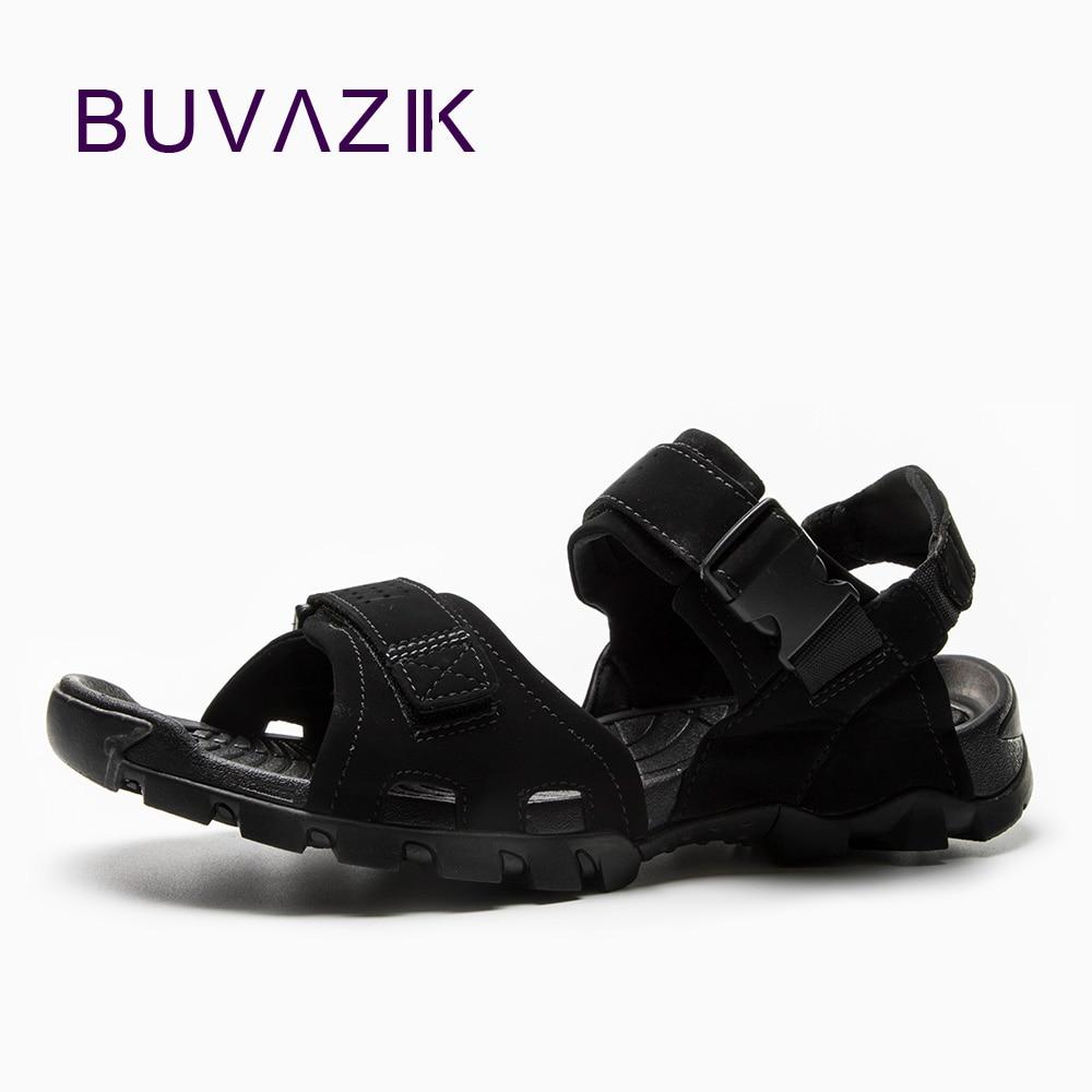BUVAZIK Summer Men Outdoor Sandals Leisure Beach Shoes Flip Flops Large Size 45 All Black Casual Men's Flats Breathable Shoes