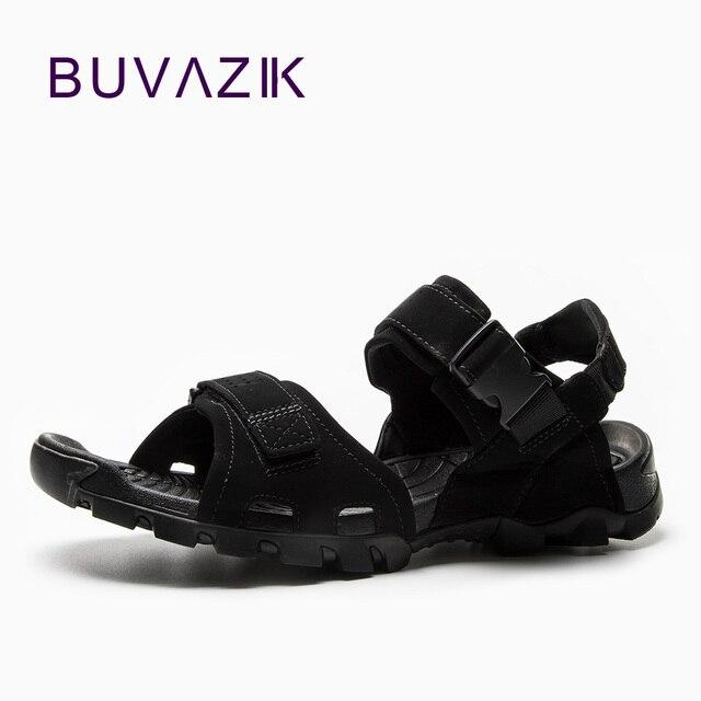 BUVAZIK Summer Men Outdoor Sandals Leisure Beach Shoes Flip Flops Large  Size 45 all black Casual Men s Flats Breathable Shoes 8bf1e1cb1c35