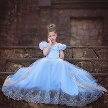 купить Kids Carnival Clothing Girls Cinderella Halloween Dress Cosplay Costumes Blue Clothes Child Christmas Birthday Princess Dresses дешево
