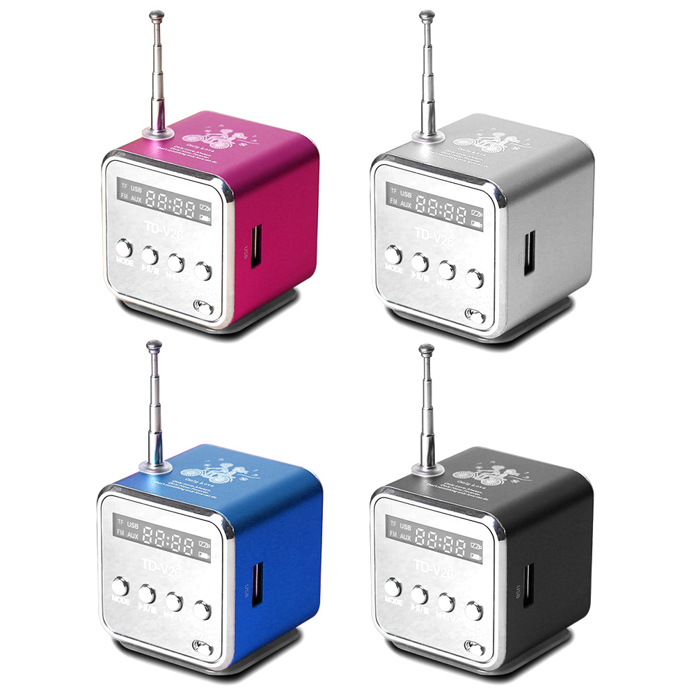 TD-V26 Mini Radio Receiver Digital Portable Radio FM With USB Spearkers For PC Phone Mp3 Music Player Support SD/TF Card