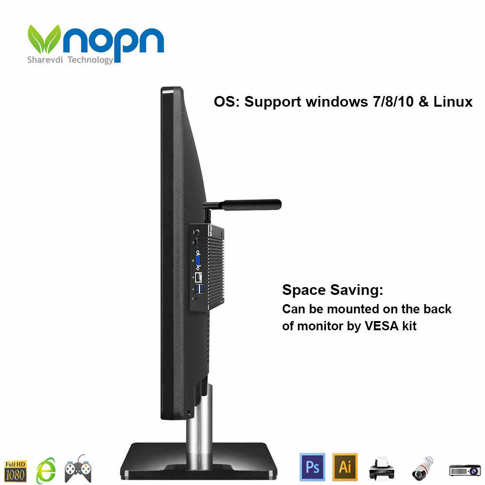 K6-F9 Мини ПК без вентилятора Intel Celeron J1900 J1800 N2940 N2840 Windows 10 Pro Linux HTPC тонкий клиент HDMI VGA WiFi LAN NUC компьютер