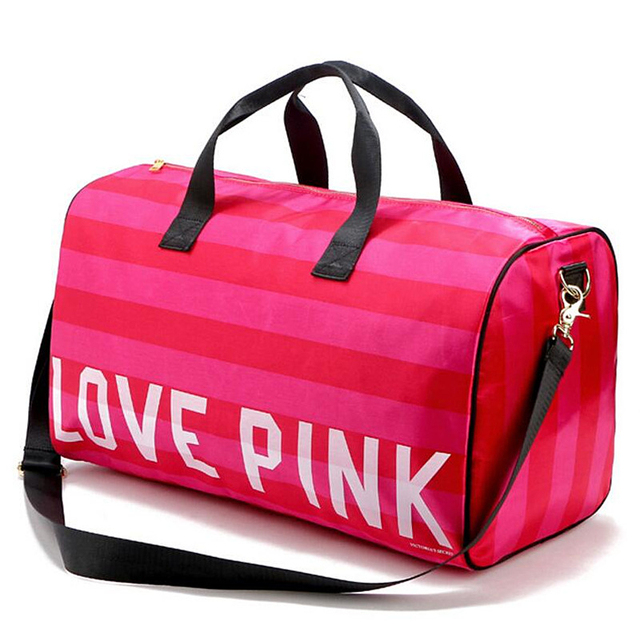 Women Fashion Y Love Pink Handbags Barrel Shaped Large Capacity Travel Duffle Striped Waterproof Beach