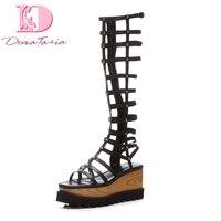 DoraTasia/новые модные туфли из натуральной кожи на танкетке с молнией на высоком каблуке туфли на твёрдой платформе женские сандалии для отдых...