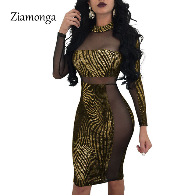 Ziamonga Fashion Mesh Patchwork Sequined Dress Women O-Neck Sexy Bodycon  Dress Long Sleeve Backless 8ae1361a65c0