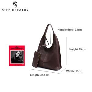 Image 4 - SC Brand Designer High Quality Cow Leather Hobo Women Genunine Leather Shoulder Bag Ladies Large Soft Casual Handbag Zip Purse