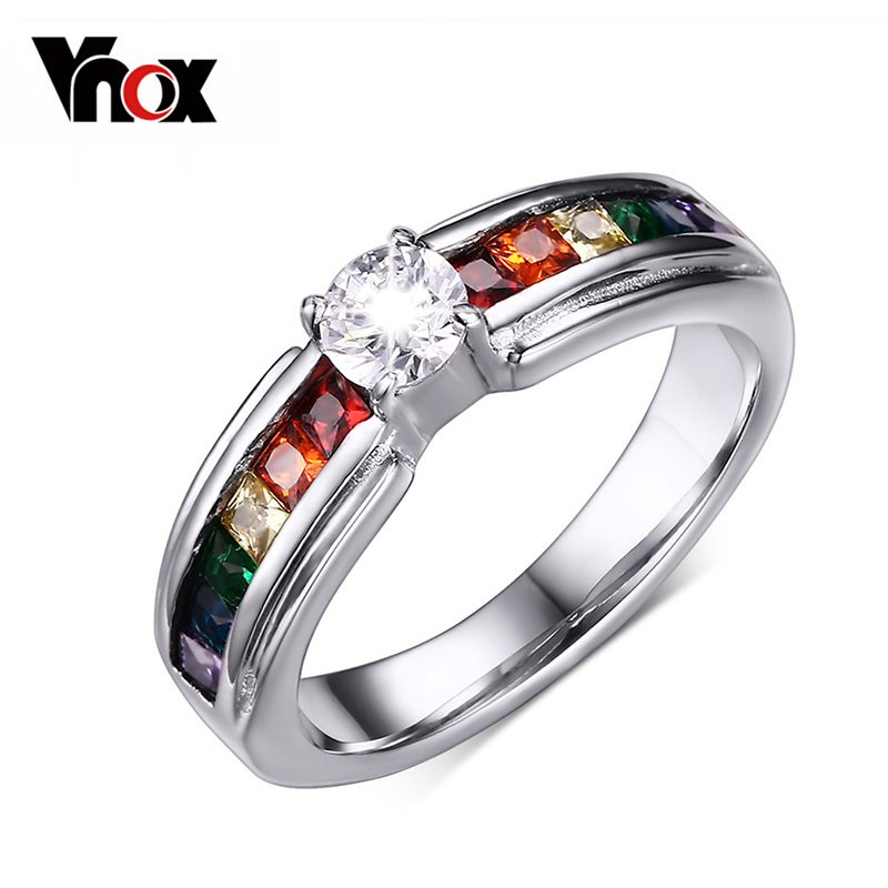 Vnox Rainbow Stone Ring for Women 316l Stainless Steel Female Jewelry USA Size gj303 rhinestones 316l stainless steel couple s ring black silver size 9 7 2 pcs