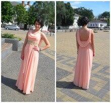 2015 kristalle Backless Rosa Chiffon Langer Abschlussball Kleidet A-linie Perlen Schärpen Bodenlangen Kleid Günstige Lange Abendkleider