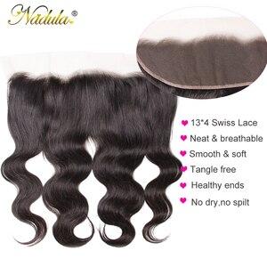 Image 5 - Nadula saç perulu vücut dalga saç 13x4 dantel Frontal kapatma ile 3 demetleri Frontal 100% insan saç örgüleri Remy saç
