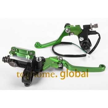 "New CNC 7/8"" Brake Master Cylinder Pressure Switch Reservoir Levers Dirt Pit Bike Set For KAWASAKI ZXR250 1989-1990 Green"