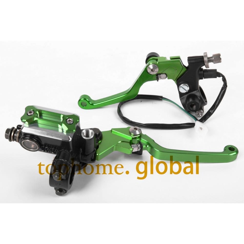 New CNC 7/8 Brake Master Cylinder Pressure Switch Reservoir Levers Dirt Pit Bike Set For KAWASAKI ZXR250 1989-1990 Green