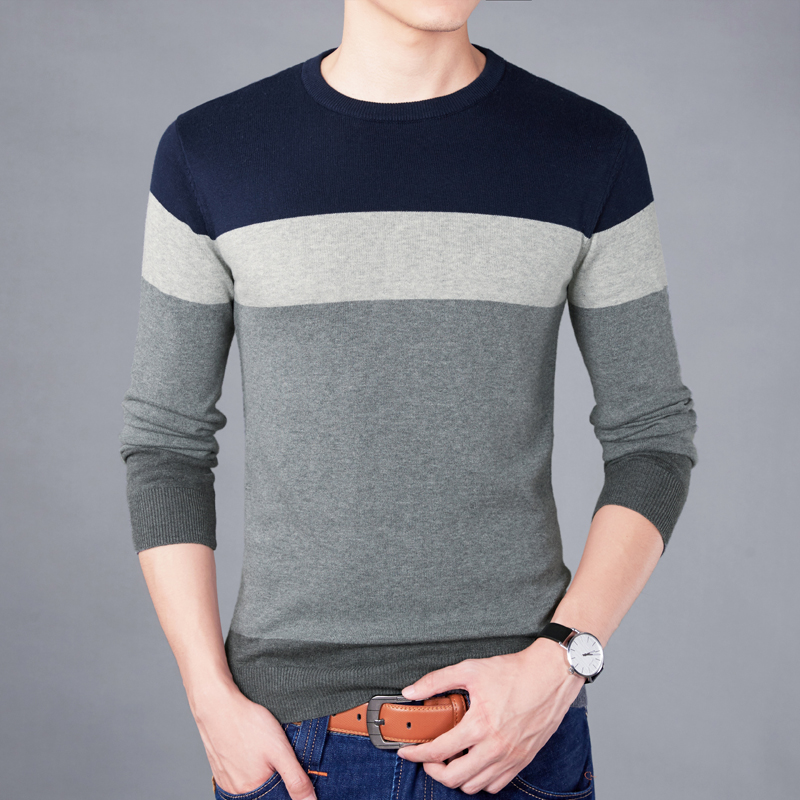 M-4XLSweater Men Nice New VogueCasual Pullover Men Autumn Round Neck Patchwork Quality Knitted Brand Male Sweaters Plus Size