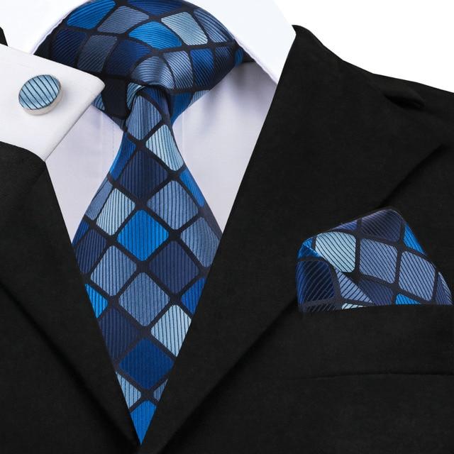 Mode Hommes Cravate Foncé Bleu Marine Bleu Plaid Soie Jacquard cravate  Mouchoir Bouton De Manchette Ensemble