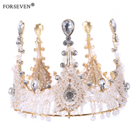 Round 100 Handmade Luxurious Gold Crystal Queen Wedding Crown Tiara For Bride Hair Accessories Hair Jewelry