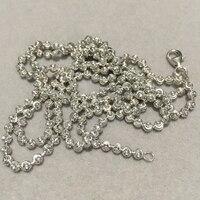 4 MM collar de cadena Larga cadena de perlas de plata de ley 925 de la cadena unisex hombres y mujeres collar de la joyería envío gratis