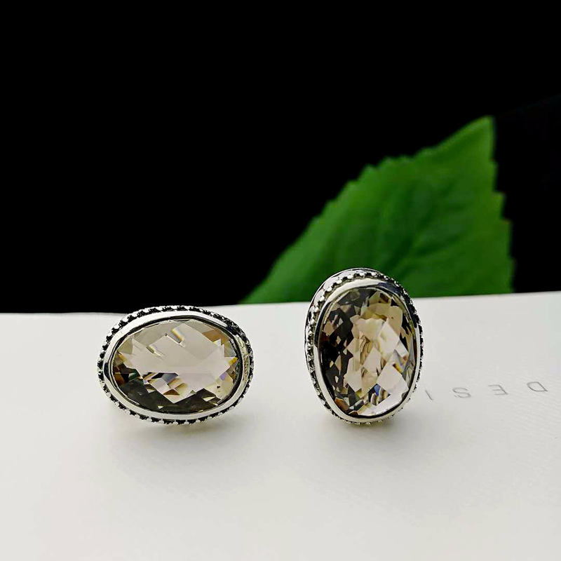 Fine Jewelry 925 Sterling Silver Natural Stone Faceted Smoky Quartz Studs Earrings For Women Oval Shape