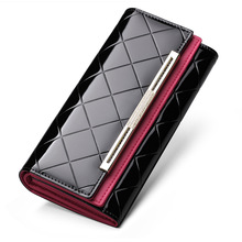Luxury Women Wallets Long Hasp Coin Purses Grid pattern Genuine Leather Wallet Design Clutch Female Money Bag Credit Card Holder slogan printed grid card holder 20sheets
