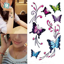 2017 Rushed Real Sexy Colorful Butterfly Fake Tattoo Temporary Sticker Water Transfer Body Art Waterproof(China)
