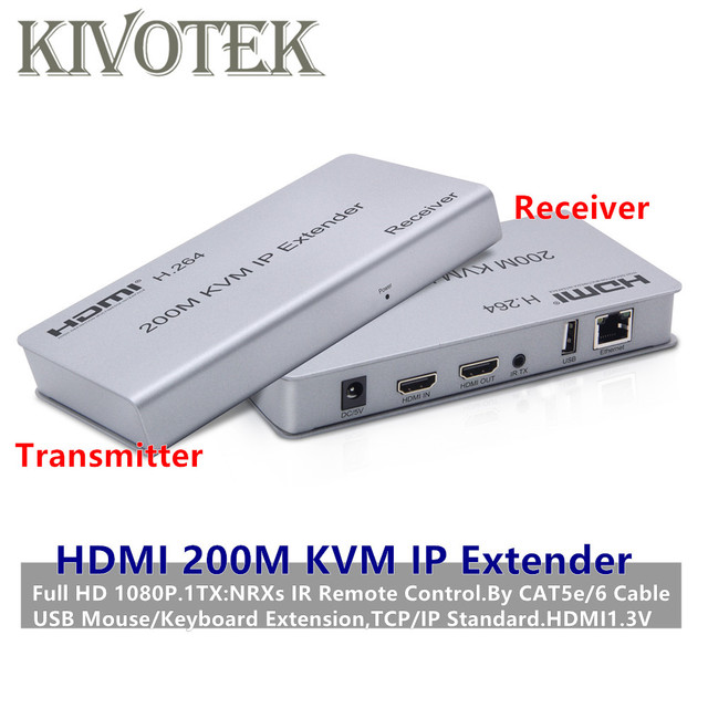 1080P HDMI KVM IP Extender Adapter 200m 1TX:NRXs by RJ45 UTP  Lan Cable Female Connector For PC HDTV Display Free Shipping