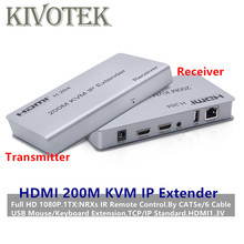 Adaptador de extensor IP KVM 1080P HDMI, 200m, 1TX:NRXs, de RJ45, Cable Lan UTP, conector hembra para pantalla de PC HDTV, envío gratis