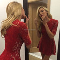 Dramatic A-Line High Neck Lace Mini Short Red Half Sleeves Cocktail Prom Dress Party Dress